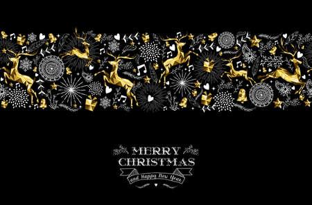Merry christmas Gelukkig Nieuwjaar label ontwerp met vakantie naadloos patroon, rendieren silhouet en xmas elementen in goud laag poly-stijl. Ideaal voor wenskaart, poster of web. EPS10 vector. Stock Illustratie