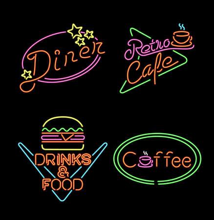 Retro neon licht set, vintage tekens en symbolen voor levensmiddelenbedrijven, koffie, hamburger, restaurant, diner. Stock Illustratie