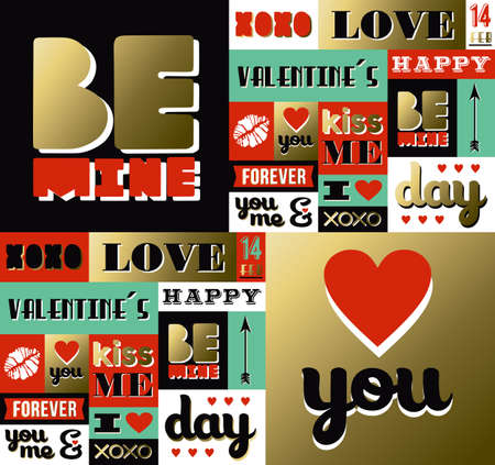 Valentines day retro pattern with label elements in gold color. Includes quotes, lipstick and heart shape decoration. EPS10 vector.