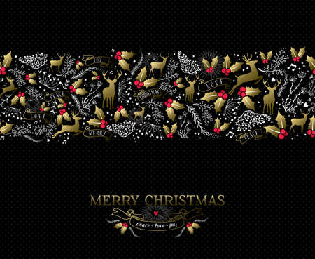 Vintage Christmas card elements, reindeer and holly in gold colors with text over seamless pattern background.