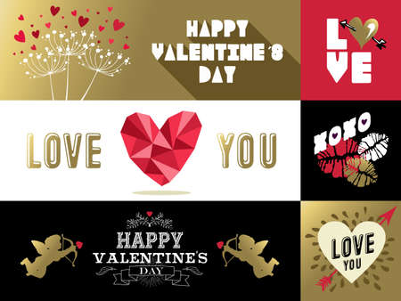 saint valentine's day: Saint Valentines day retro set of labels and banners with gold, pink colors. Includes heart shape, kiss, angel, nature designs.