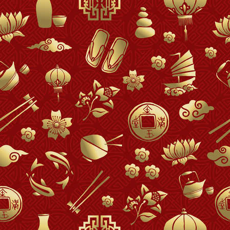 culture: Gold chinese cultural icons seamless pattern, traditional asian elements on red background.