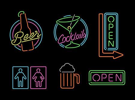 coquetel: Jogo de ícones do contorno da luz do sinal do estilo de néon retro de bar, cerveja, negócio aberto, cocktail e símbolo banheiro. Ilustração