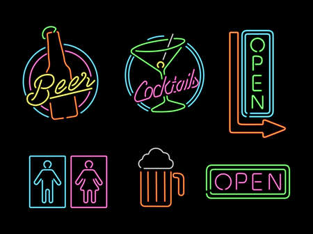 neon: Set of retro style neon light outline sign icons for bar, beer, open business, cocktail and bathroom symbol.