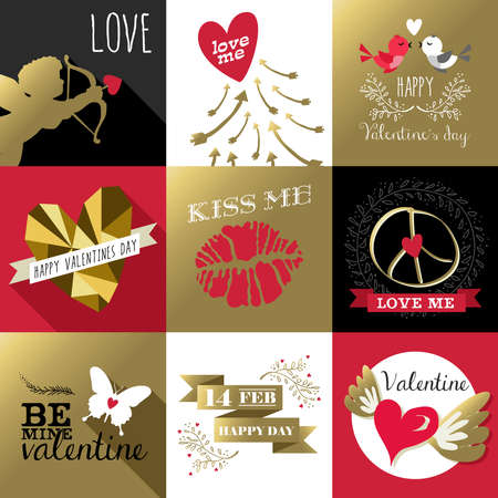 pink and black: Saint Valentines day retro design label set with gold and pink colors, includes angel, quotes, kiss, butterfly. Ideal for greeting card.