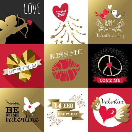 rosa negra: Santo d�a de San Valent�n de dise�o de etiquetas retro fij� con oro y rosa colores, incluye �ngel, citas, beso, mariposa. Ideal para tarjetas de felicitaci�n. Vectores