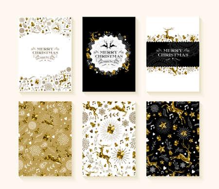 Merry christmas set van naadloze kerst rendieren patronen in goud laag poly stijl en tekstsjablonen. Stock Illustratie