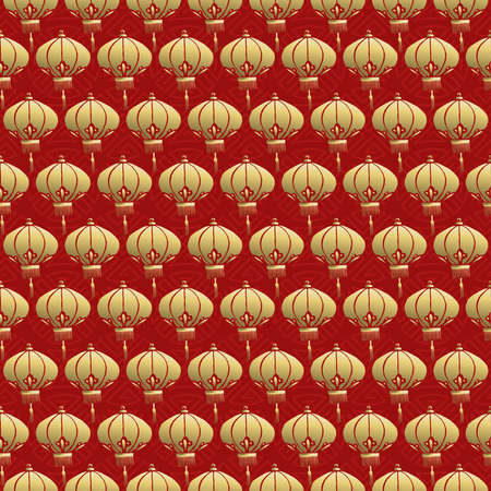 red lantern: Traditional chinese lamp seamless pattern, celebration lantern background in gold and red colors. Illustration
