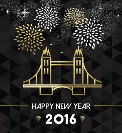 london england: Happy New Year 2016 London greeting card with England landmark tower bridge in gold outline style. EPS10 vector.