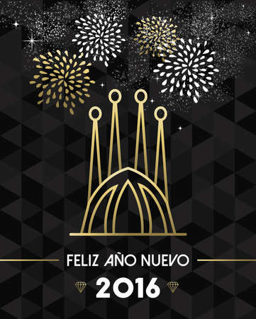 sagrada familia: Happy New Year 2016 Barcelona greeting card with Spain landmark church Sagrada Familia in gold outline style. EPS10 vector. Illustration