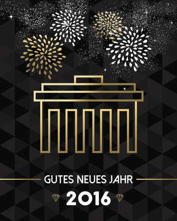 brandenburg gate: Happy New Year 2016 Berlin greeting card with Germany landmark Brandenburg gate in gold outline style. EPS10 vector.