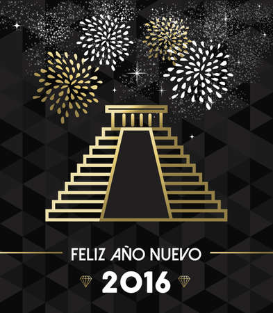 line art: Happy New Year 2016 Mexico greeting card with historic landmark Chichen Itza pyramid in gold outline style. EPS10 vector. Vectores