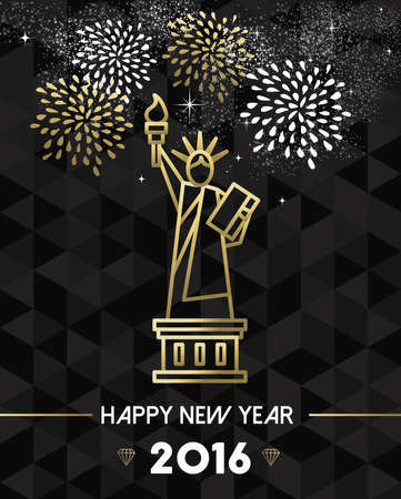 Happy new year 2016 new york greeting card with usa united states happy new year 2016 new york greeting card with usa united states statue of liberty in m4hsunfo