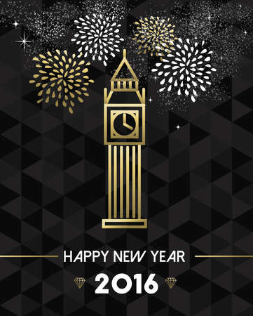 new england: Happy New Year 2016 London greeting card with england monument big ben clock in gold outline style. EPS10 vector. Illustration