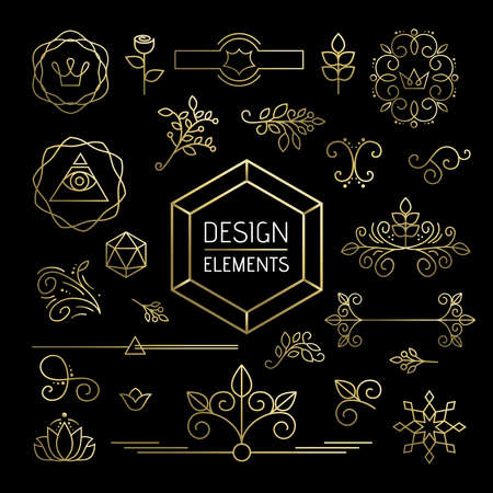 illuminati: Design element set, mono line art ornamental decoration in gold outline style. Includes nature, plant, leaf and flower icons. EPS10 vector.