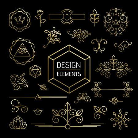 leaf line: Design element set, mono line art ornamental decoration in gold outline style. Includes nature, plant, leaf and flower icons. EPS10 vector.
