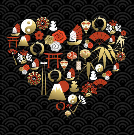 shape silhouette: Chinese heart shape silhouette, love concept background made with cultural symbols and icons. Ideal for new year festival card. EPS10 vector.