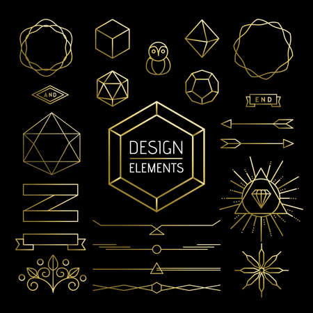 decoration style: Design element collection, retro hipster outline icons in gold color. Includes mono line style lettering shapes, banner, labels and geometry decoration. EPS10 vector.