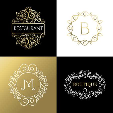 ilustracion: Conjunto del marco ornamental, decoración del esquema de línea mono de oro. Ideal para rótulo de establecimiento, restaurante o de campaña. EPS10 del vector.