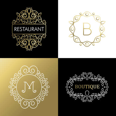 illustration: Ornamental frame set, gold mono line outline decoration. Ideal for business sign, restaurant or campaign. EPS10 vector. Illustration