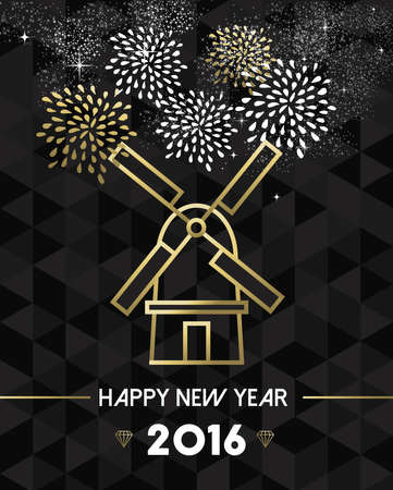 traditional windmill: Happy New Year 2016 Netherlands greeting card with traditional windmill landmark in gold outline style. EPS10 vector.