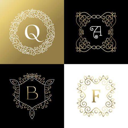 decoration style: Set of ornament style gold outline frames with leaf and flower decoration. Ideal for brand design, business or campaign. EPS10 vector.