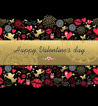 love kiss: Happy valentines day pattern decoration and gold text label made with vintage icon set. Includes angel, kiss, heart shape, love elements. EPS10 vector.