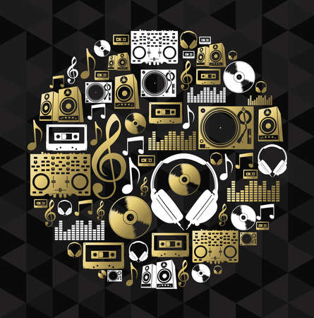 gold record: Music dj icon set making vinyl cd shape silhouette. EPS10 vector.