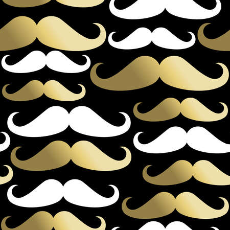 masculinity: Hipster mustache seamless pattern, classy beard elements in gold. EPS10 vector. Illustration