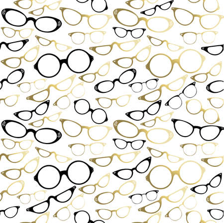 eyeglass: Vintage hipster glass icon set seamless pattern. EPS10 vector.