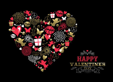 バレンタインの日のグリーティング カード、レトロなアイコン装飾テキスト ラベルとゴールドとピンク色でハート形のシルエットを作るします。EPS