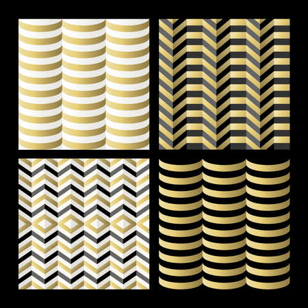 Retro seamless pattern set, vintage abstract geometric backgrounds in gold color. EPS10 vector.