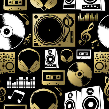 musica electronica: Concepto de la música patrón sin costuras con iconos. Incluye dj, roca, club y elementos de audio. EPS10 del vector.