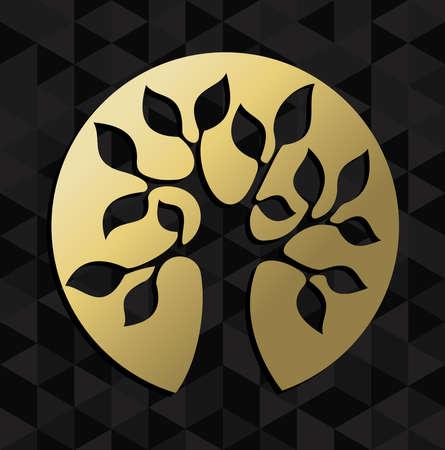 Gouden leven boom badge icoon illustratie, concept ontwerp. EPS10 vector.