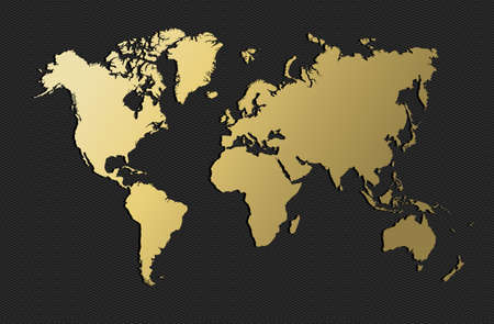Empty world map silhouette in gold color, concept illustration. EPS10 vector. Vettoriali