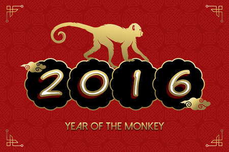 chinese new year: 2016 Happy Chinese New Year of the Monkey. Ape silhouette and text in gold colors over red texture background. EPS10 vector.
