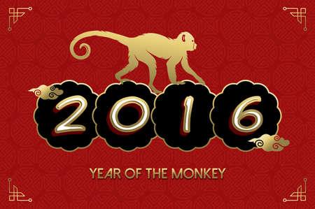 nouvel an: 2016 Heureux Nouvel An chinois du singe. Ape silhouette et texte dans des couleurs or sur fond rouge texture. Vecteur EPS10.