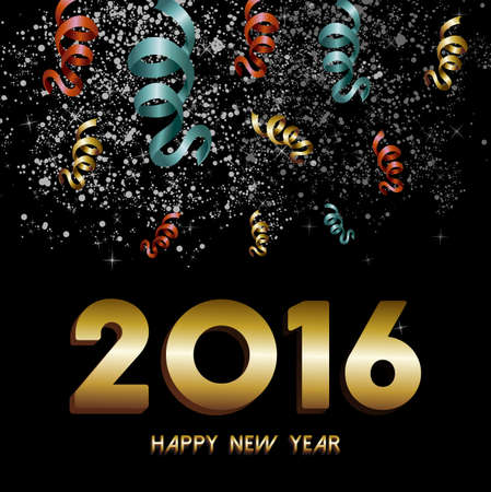 greeting card vector: Happy New Year 2016 greeting card, gold text with night sky firework and confetti explosion background. EPS10 vector.