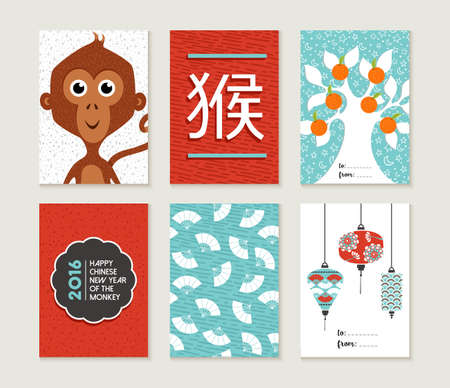 monkey in a tree: 2016 Happy Chinese New Year of the Monkey. Greeting card set with cute traditional cartoon designs, includes decoration and asian culture elements. EPS10 vector. Illustration