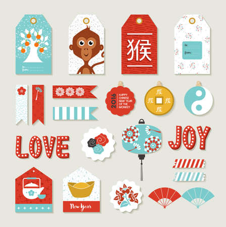 monkey in a tree: 2016 Happy Chinese New Year of the Monkey. DIY print set with tags and label templates, includes cute traditional asian decoration elements.  EPS10 vector.