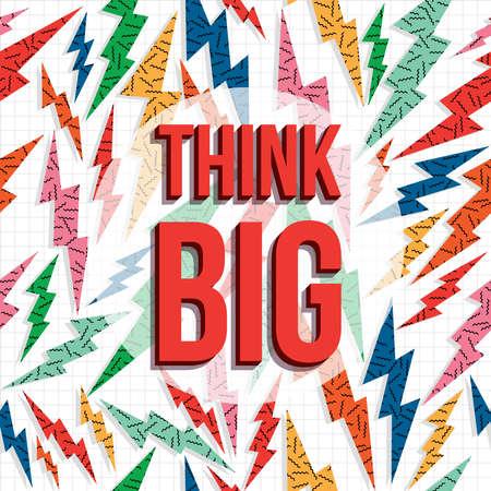 Pensar en grande cita de la inspiración, la motivación creativa imaginación de texto con 80s retro fondo.