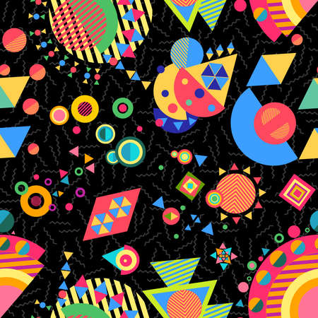 Seamless pattern background, abstract geometry elements in bright multicolor modern style. EPS10 vector. Illustration