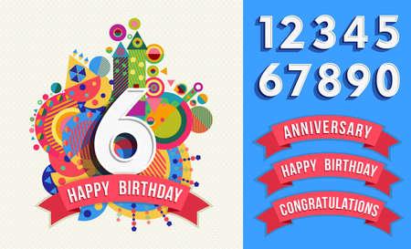 Feliz plantilla de tarjeta de cumpleaños con colores vibrantes formas divertidas. Incluye conjunto de números, aniversario y felicitaciones etiquetas. Vector EPS10. Ilustración de vector