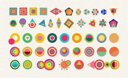 Formes d'éléments de géométrie définis, icônes abstraites colorées et amusantes symboles dynamiques avec des dessins de style pop. Vecteur EPS10.