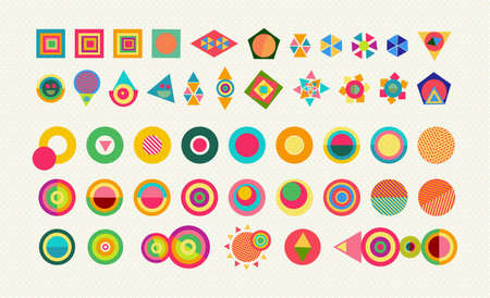 fun: Geometry element shapes set, colorful fun abstract icons and symbols with vibrant pop style designs. EPS10 vector.