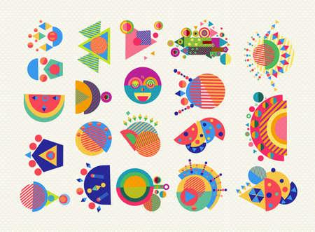 ジオメトリ要素の設定、抽象的な記号や図形で楽しいカラフルなスタイルです。EPS10 ベクトル。  イラスト・ベクター素材