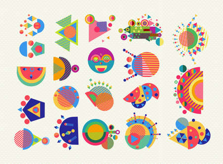 shape: Set of geometry elements, abstract symbols and shapes in fun colorful style. EPS10 vector.