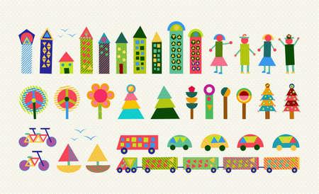 Set di felice colorati elementi di geometria della città. Include casa, la gente, la natura, l'ambiente e le forme di trasporto. EPS10 vettore.