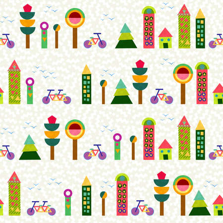house with style: Seamless pattern background, city and environment elements made with multicolor geometry shapes. EPS10 vector. Illustration