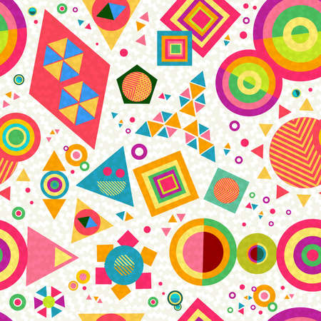 hippie: Seamless pattern background with geometric shapes and abstract designs in colorful vibrant pop style. EPS10 vector.